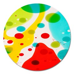 Polkadot Color Rainbow Red Blue Yellow Green Magnet 5  (round) by Mariart