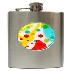 Polkadot Color Rainbow Red Blue Yellow Green Hip Flask (6 Oz) by Mariart