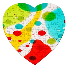 Polkadot Color Rainbow Red Blue Yellow Green Jigsaw Puzzle (heart) by Mariart
