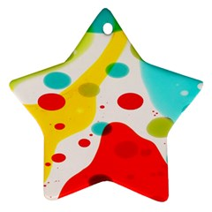 Polkadot Color Rainbow Red Blue Yellow Green Star Ornament (two Sides)