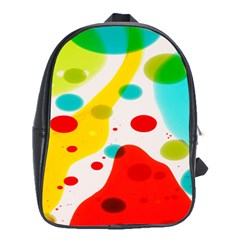 Polkadot Color Rainbow Red Blue Yellow Green School Bags(large)