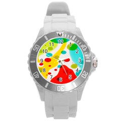 Polkadot Color Rainbow Red Blue Yellow Green Round Plastic Sport Watch (l) by Mariart