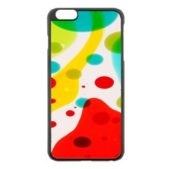 Polkadot Color Rainbow Red Blue Yellow Green Apple Iphone 6 Plus/6s Plus Black Enamel Case