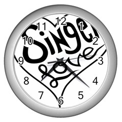 Singer Love Sign Heart Wall Clocks (silver)