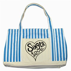 Singer Love Sign Heart Striped Blue Tote Bag by Mariart