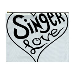 Singer Love Sign Heart Cosmetic Bag (xl) by Mariart
