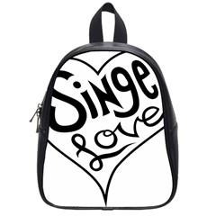 Singer Love Sign Heart School Bags (small)  by Mariart