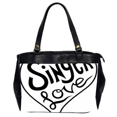 Singer Love Sign Heart Office Handbags (2 Sides)  by Mariart