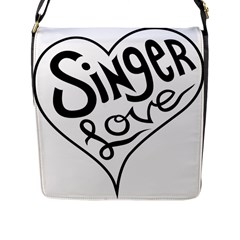 Singer Love Sign Heart Flap Messenger Bag (l)  by Mariart