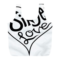 Singer Love Sign Heart Full Print Recycle Bags (l)  by Mariart