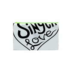 Singer Love Sign Heart Cosmetic Bag (xs) by Mariart