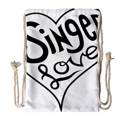 Singer Love Sign Heart Drawstring Bag (large) by Mariart