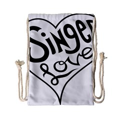 Singer Love Sign Heart Drawstring Bag (small) by Mariart