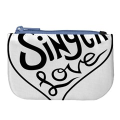 Singer Love Sign Heart Large Coin Purse by Mariart
