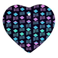Polkadot Plaid Circle Line Pink Purple Blue Ornament (heart) by Mariart