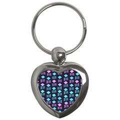 Polkadot Plaid Circle Line Pink Purple Blue Key Chains (heart)  by Mariart
