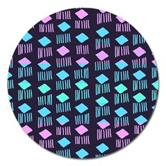 Polkadot Plaid Circle Line Pink Purple Blue Magnet 5  (round) by Mariart