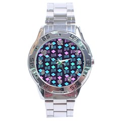 Polkadot Plaid Circle Line Pink Purple Blue Stainless Steel Analogue Watch by Mariart
