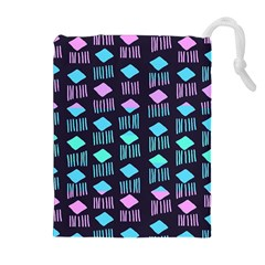 Polkadot Plaid Circle Line Pink Purple Blue Drawstring Pouches (extra Large) by Mariart