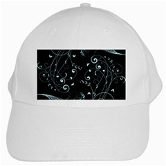 Floral Design White Cap by ValentinaDesign