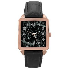 Floral Design Rose Gold Leather Watch  by ValentinaDesign