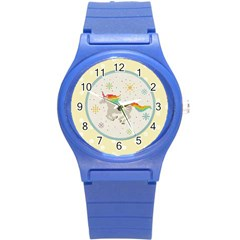 Unicorn Pattern Round Plastic Sport Watch (s) by Nexatart