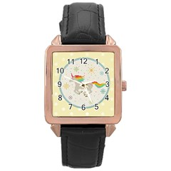 Unicorn Pattern Rose Gold Leather Watch