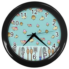 Kawaii Kitchen Border Wall Clocks (black) by Nexatart