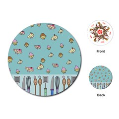 Kawaii Kitchen Border Playing Cards (round)  by Nexatart
