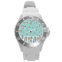 Kawaii Kitchen Border Round Plastic Sport Watch (l)