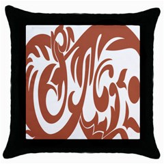 Sign Red Polka Throw Pillow Case (black) by Mariart