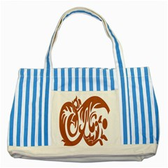 Sign Red Polka Striped Blue Tote Bag by Mariart