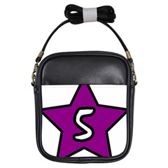 Star Five Purple White Girls Sling Bags