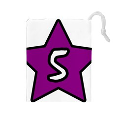 Star Five Purple White Drawstring Pouches (large)  by Mariart