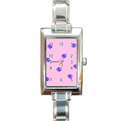 Star Space Balloon Moon Blue Pink Circle Round Polkadot Rectangle Italian Charm Watch by Mariart