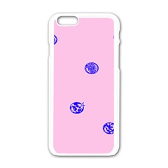 Star Space Balloon Moon Blue Pink Circle Round Polkadot Apple Iphone 6/6s White Enamel Case by Mariart