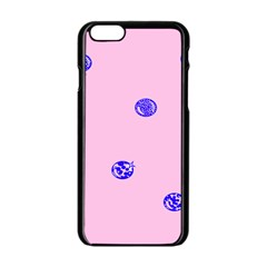 Star Space Balloon Moon Blue Pink Circle Round Polkadot Apple Iphone 6/6s Black Enamel Case by Mariart