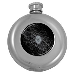 Space X Circle Line Black Round Hip Flask (5 Oz) by Mariart