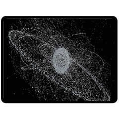 Space X Circle Line Black Double Sided Fleece Blanket (large)  by Mariart