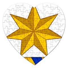 Star Yellow Blue Jigsaw Puzzle (heart) by Mariart