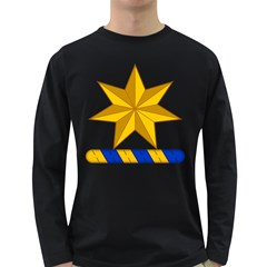 Star Yellow Blue Long Sleeve Dark T Shirts