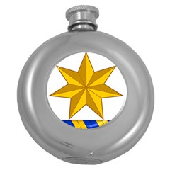 Star Yellow Blue Round Hip Flask (5 Oz) by Mariart