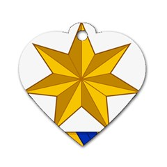 Star Yellow Blue Dog Tag Heart (two Sides) by Mariart