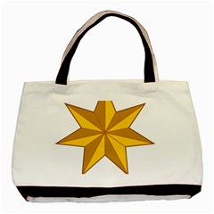 Star Yellow Blue Basic Tote Bag (two Sides) by Mariart