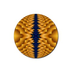Plaid Blue Gold Wave Chevron Rubber Round Coaster (4 Pack)  by Mariart