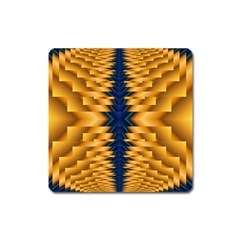 Plaid Blue Gold Wave Chevron Square Magnet by Mariart