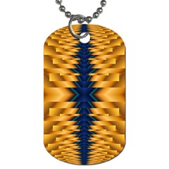 Plaid Blue Gold Wave Chevron Dog Tag (two Sides) by Mariart