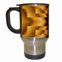 Plaid Blue Gold Wave Chevron Travel Mugs (white) by Mariart