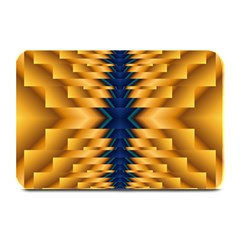 Plaid Blue Gold Wave Chevron Plate Mats by Mariart