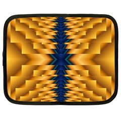 Plaid Blue Gold Wave Chevron Netbook Case (xxl)  by Mariart